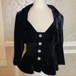 Boston Proper 14 glam bling velvet cinched blazer